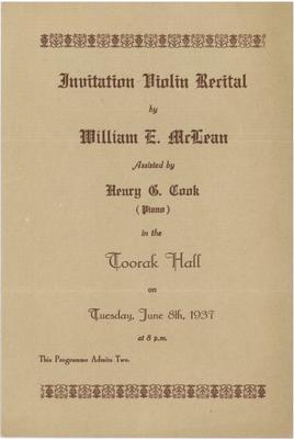 William E McLean Violin Recital