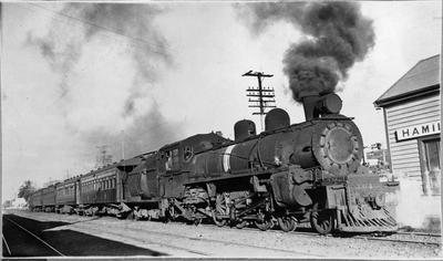 Locomotive arriving at Hamilton Station