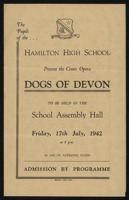 Hamilton High School present the comic opera Dogs of Devon