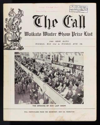 The Call. Waikato Winter Show Prize List 1960