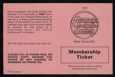 Membership ticket, Hamilton Operatic Society