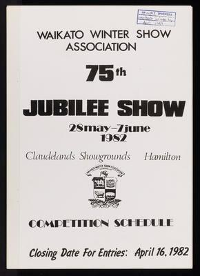 Waikato Winter Show 75th Jubilee Competition Schedule