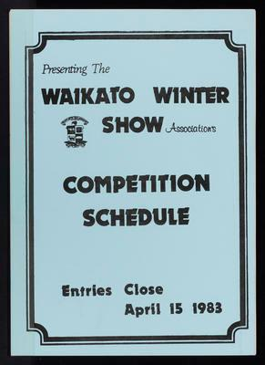 Waikato Winter Show Competition Schedule