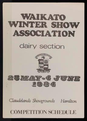 Waikato Winter Show Dairy Section Competition Schedule