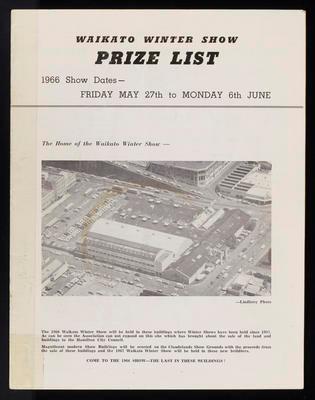 Waikato Winter Show Prize list 1966 (The Call Magazine)