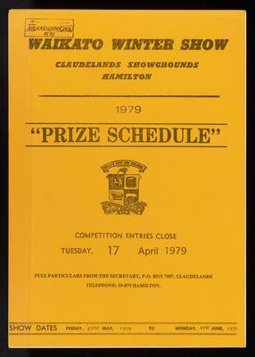 Waikato Winter Show Prize Schedule 1979