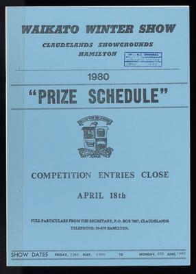 Waikato Winter Show Prize Schedule 1980