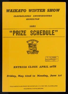 Waikato Winter Show Prize Schedule 1981