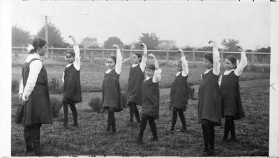 Frankton School pupils practice their drill movements
