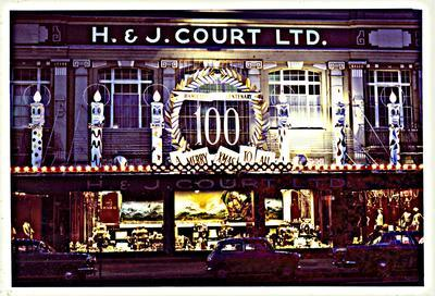H. & J. Court Ltd store front Christmas display 1964