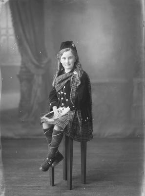 Full length portrait of girl in Highland costume - McLean