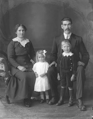 Family portrait - man, woman, small boy and girl - O'Brien