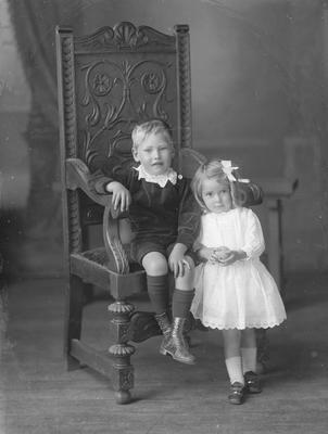 Full length portrait of small boy and girl - O'Brien