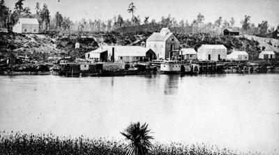 Paddle Steamers alongside old flour mill at Ngaruawahia