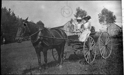 Two women in horse and cart, Okete