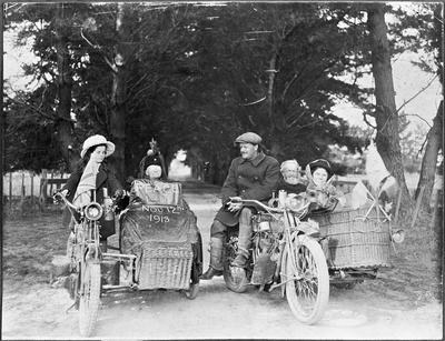 The Smith family at Christchurch celebrate peace - motorbikes and sidecars