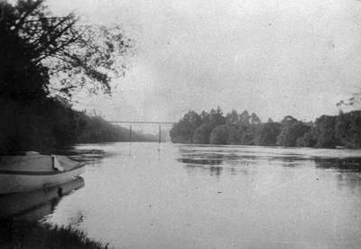 A view along the Waikato River towards the Railway Bridge