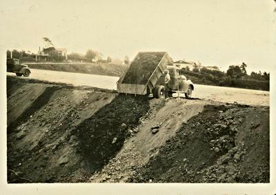 Dumping soil from Garden Place Hill