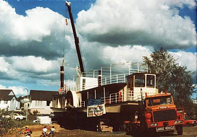 M.V. Waipa Delta on the back of a house removal truck