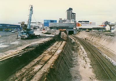 Excavation work beside the railway line through Hamilton central