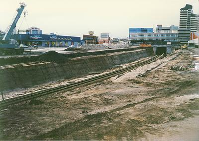 Excavation work beside the railway line through Hamilton central