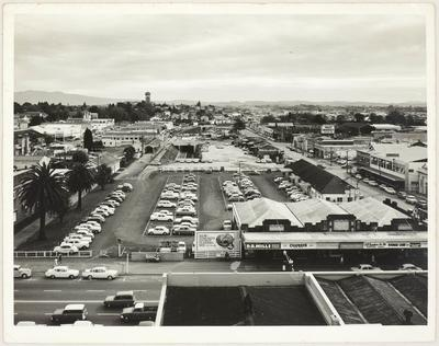 Aerial view of central Hamilton from Victoria Street to Frankton