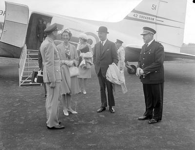 Governor-General, His Excellency Sir Bernard Edward Fergusson at Hamilton airport