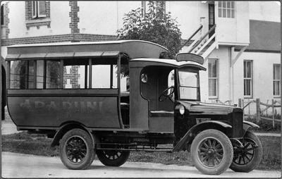 Arapuni bus outside Hamilton Fire Station