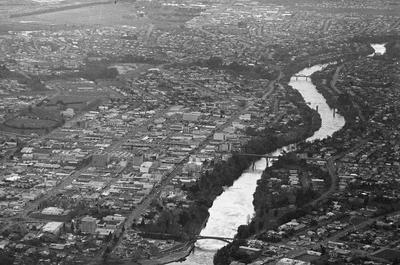 Aerial view of Hamilton city 1976