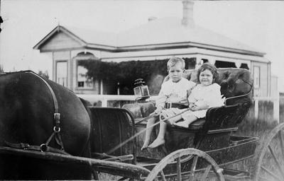 Children in horse-drawn cart