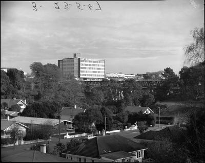 View across Opoia Road towards the Railway Bridge and State Advances Corporation building