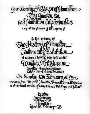 History of Hamilton Centennial Exhibition - Invitation design