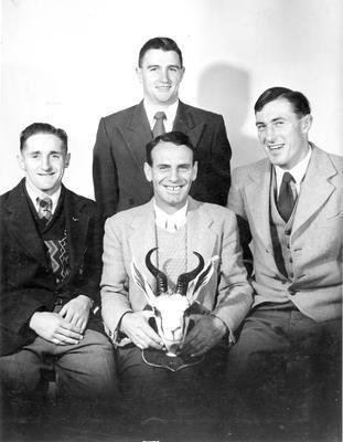 W R Hawkins - Booth & Chapman holding Springbok Trophy