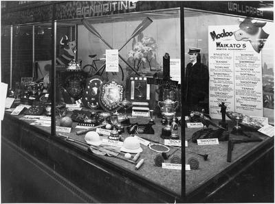 Booth & Chapman - window display - Waikato sport