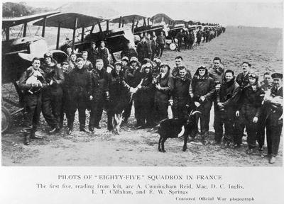 """Pilots of """"Eighty Five"""" Squadron in France"""