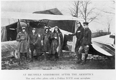 At Brussels aerodrome after the armistice - Mac and other pilots