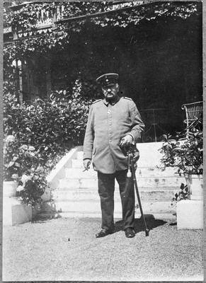 Benno von Tempsky on verandah of Liegnitz home