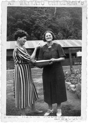 Dame Hilda Ross & Mrs Cobb at Waikato Children's Camp