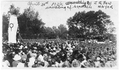 Unveiling of Cenotaph - Memorial Park