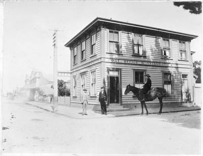Vernon Roberts outside Greytown Post Office and telegraph office