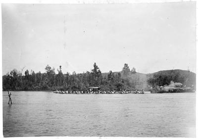 Mercer Regatta - Maori canoes on Waikato River