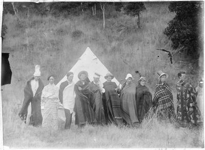 Group in front of tent