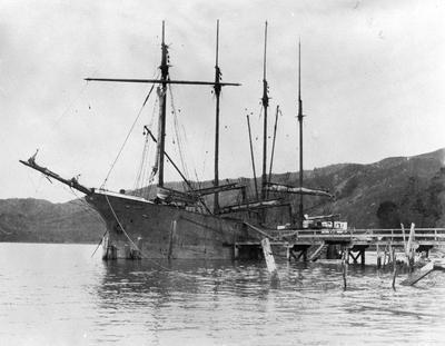 "4 Mast sailing vessel ""Margaret W"" at Port Waikato"