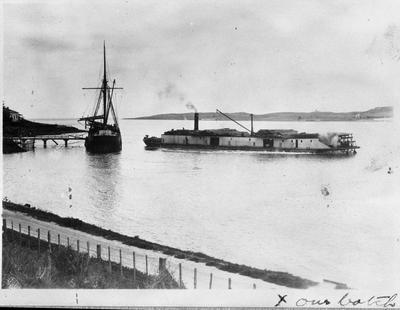 "Wharf at Port Waikato - ""Margaret W"" and ""Rawhiti"""
