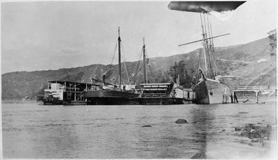 """Manuwai"", ""Hauturu"", ""Rawhiti"" and ""Margaret W"" at Port Waikato"