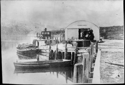 """Ngaruawahia Wharf and steamer """"Waikato"""""""