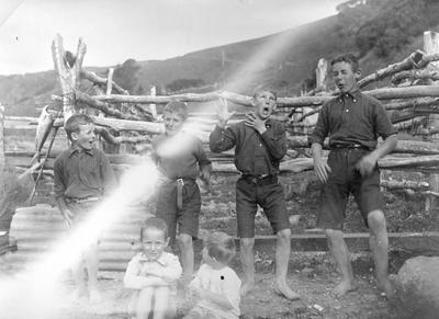 Boys performing haka, Port Waikato