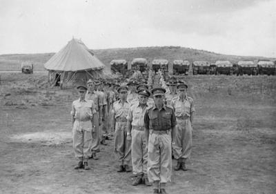 Parade, Tihoi camp, Oliver leading
