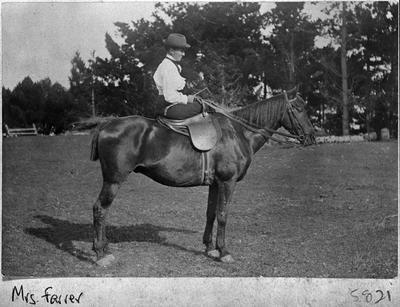 Mrs Farrer on horse