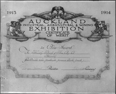 Huntly Brick - Certificate, Auckland A I & M Exhibition